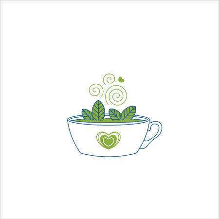 Cup of matcha tea with green leaves. Flat line. Vector illustration Illustration