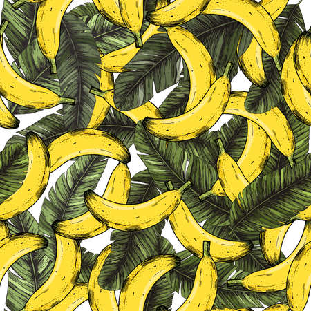 Tropical banana leaves and fruits seamless pattern. Exotic background. Vector illustration