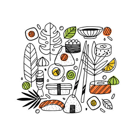 Sushi doodle composition. Linear graphic. Kid design. Scandinavian style. Vector illustration Imagens - 127864858