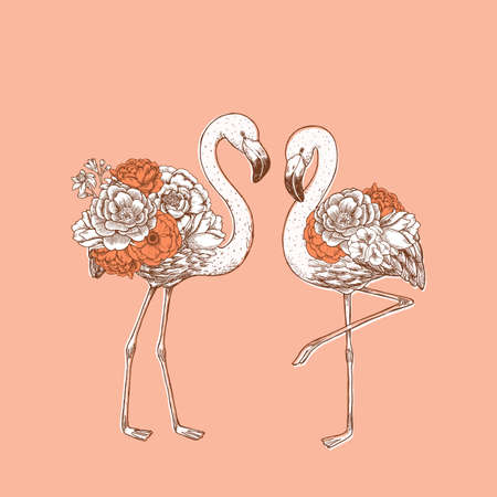 Flamingo with rose and peony flowers. Beautiful design print. Vector illustration Imagens - 127864859