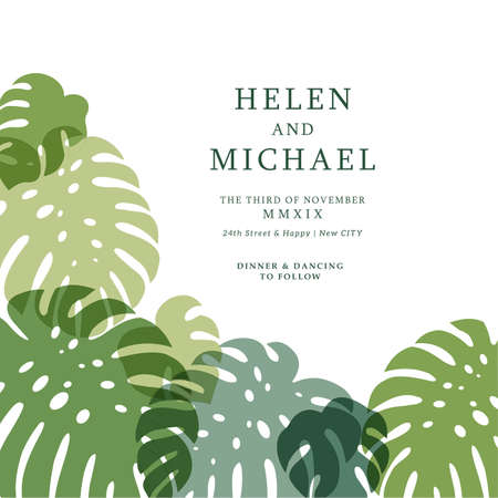 Minimalist monstera wedding invitation. Card design template. Vector illustration