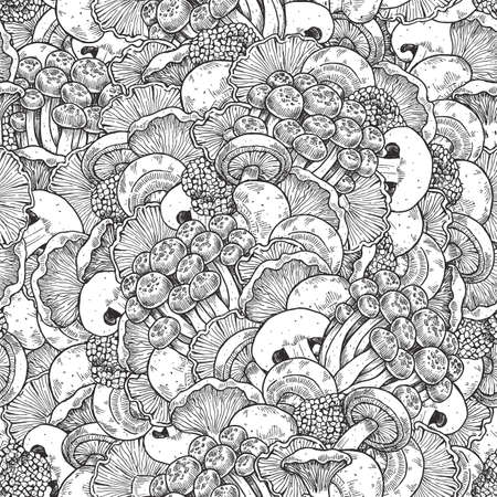 Various mushroom seamless pattern.  Mushroom background. Vintage style. Vector illustration Ilustração