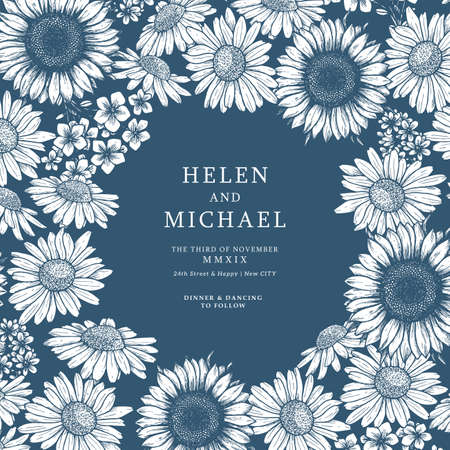 Vintage flower wedding design template. Floral background. Sunflower, daisy. Vector illustration