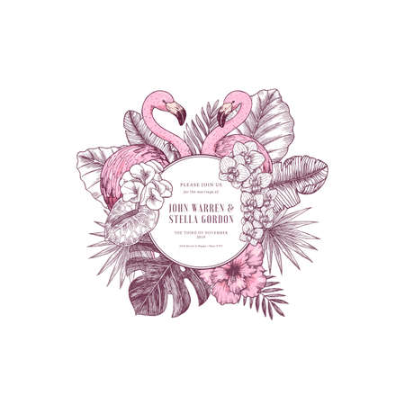 Pink flamingo wedding invitation. Round design template. Vector illustration