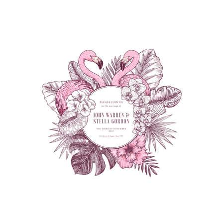 Pink flamingo wedding invitation. Round design template. Vector illustration Banque d'images - 127864863