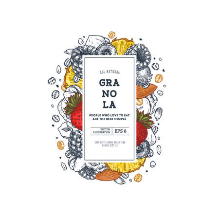 Granola packaging design template. Engraved style illustration. Various berries, fruits and nuts. Vector illustration