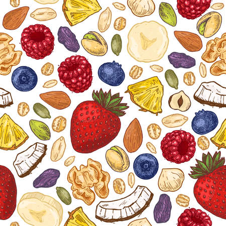 Granola colored seamless pattern. Engraved style illustration. Various berries, fruits and nuts. Vector illustration Ilustração