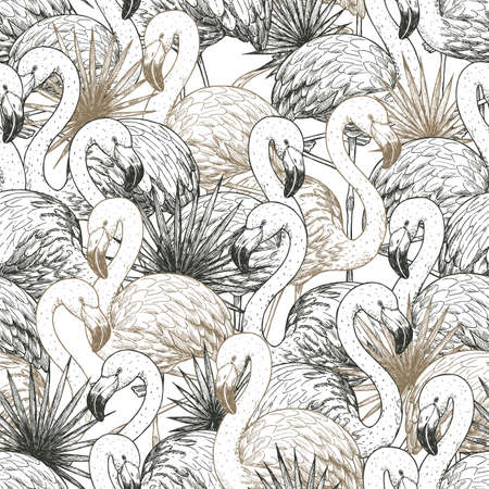 Flamingo tropical seamless pattern. Beautiful background. Vector illustration