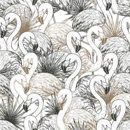 Flamingo tropical seamless pattern. Beautiful background. Vector illustration Imagens - 128521596