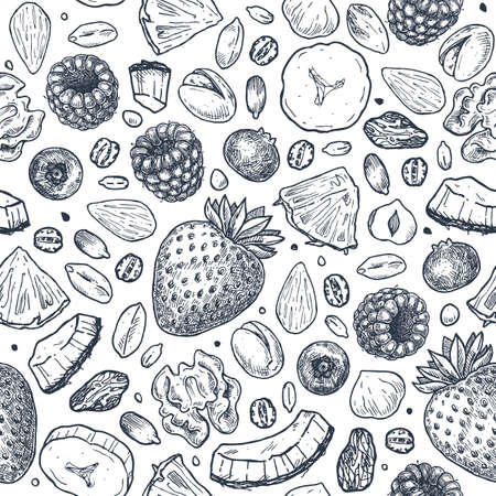 Granola seamless pattern. Engraved style illustration. Various berries, fruits and nuts. Vector illustration Ilustração