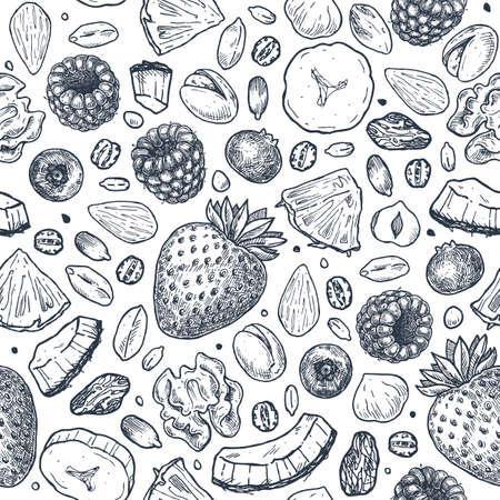 Modello senza cuciture di muesli. Illustrazione in stile inciso. Varie bacche, frutta e noci. Illustrazione vettoriale
