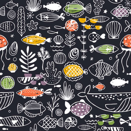 Sealife doodle seamless pattern. Linear graphic. Kid design. Scandinavian style. Vector illustration