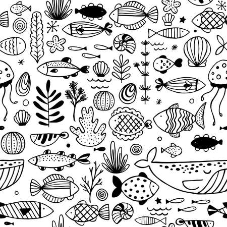 Fish doodle seamless pattern. Linear graphic. Kid design. Scandinavian style. Vector illustration