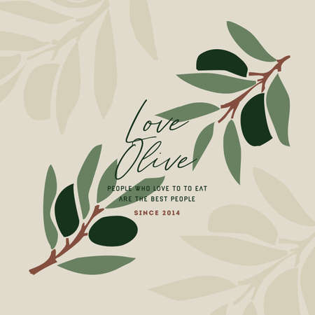 Olive doodle design template. Abstract style. Vector illustration