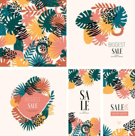 Fashion print design texture. Seamless abstract leaf pattern. Jungle leaf design templates. Vector illustration Çizim