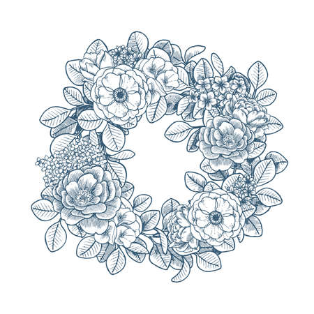 Elegant floral vintage wreath. Various florals. Vector illustration Imagens - 128521624