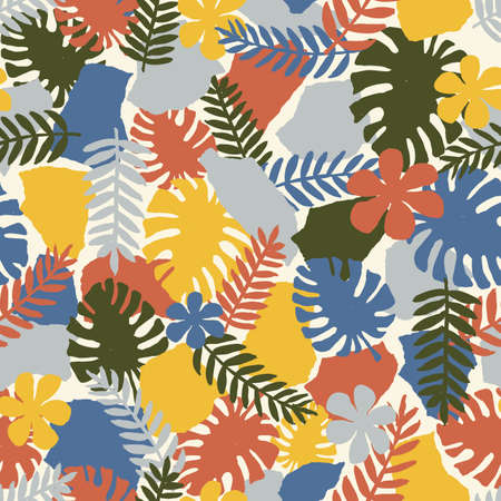Exotic leaves collage seamless pattern. Vector illustration Standard-Bild - 128781728
