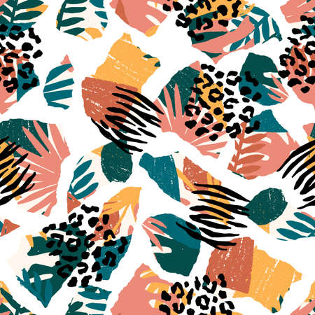 Seamless abstract exotic pattern. Zebra and leopard texture. Vector illustration