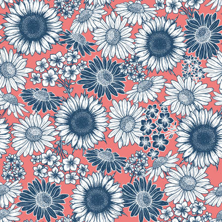 Vintage flower seamless pattern. Floral background. Sunflower, daisy. Vector illustration
