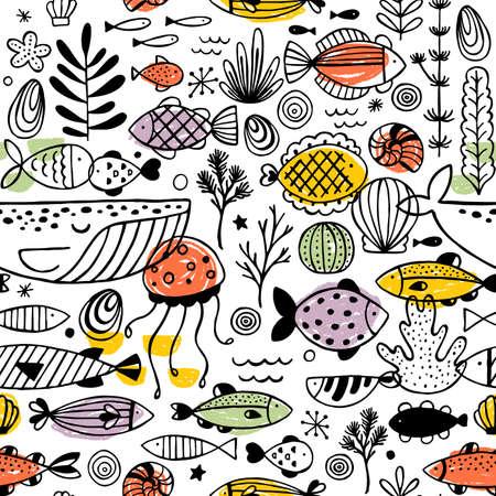 Reticolo di doodle di pesce. Grafica lineare. Disegno del bambino. Stile scandinavo. Illustrazione vettoriale