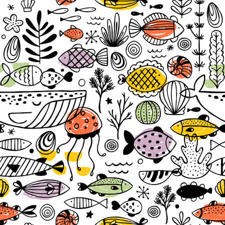 Fish doodle pattern. Linear graphic. Kid design. Scandinavian style. Vector illustration
