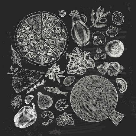 Basil, mozarella, tomato, olive, garlic pepper, onion, anchovy, parmesan. Italian pizza ingredients. Vector illustration Illustration