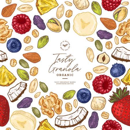 Modello di cornice di muesli. Illustrazione in stile inciso. Varie bacche, frutta e noci. Illustrazione vettoriale Vettoriali