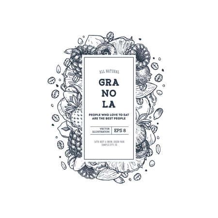 Modèle de conception verticale de granola. Illustration de style gravé. Diverses baies, fruits et noix. Illustration vectorielle Vecteurs