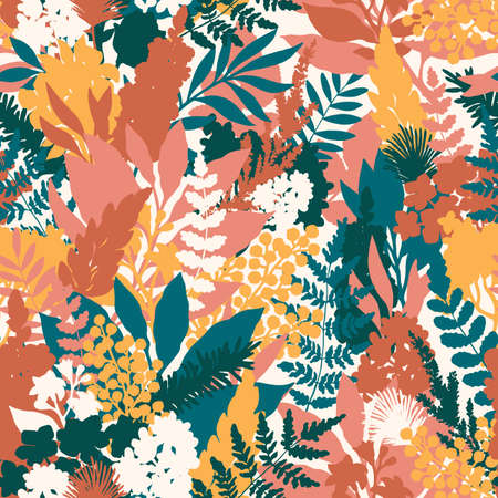 Wild flower seamless pattern. Florals background. Fashion and trendy style. Vector illustration