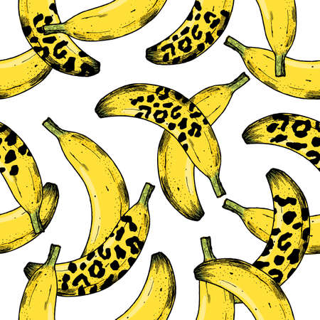 Leopard banana seamless pattern. Fashion and trendy exotic background. Vector illustration