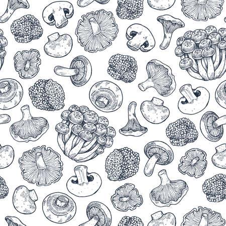 Various mushroom seamless pattern. Vintage style. Vector illustration