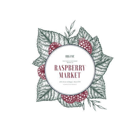 Raspberry round design template. Engraved style illustration. Vector illustration