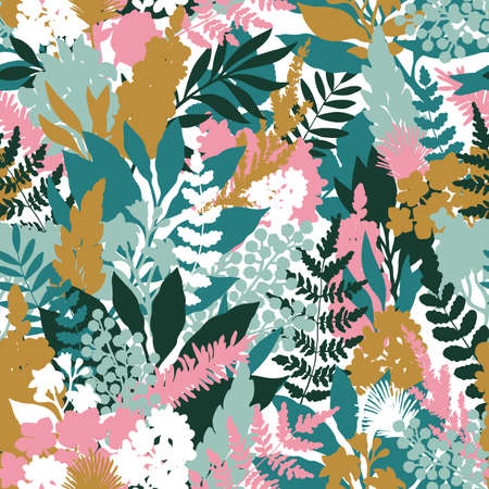 Wild spring flower seamless pattern. Florals background. Fashion and trendy style. Vector illustration Ilustração