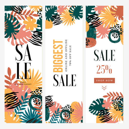Exotic leaves vertical banner template. Floral background. Fashion and trendy style. Summer sale. Vector illustration