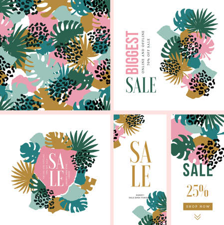Exotic leaves fashion and trendy design collection. Collage style. Seamless pattern, cards, vertical banners. Vector illustration