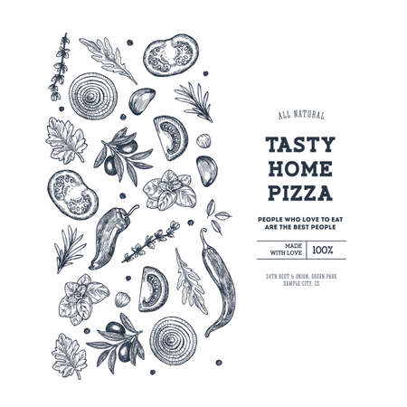 Pizza design template. Italian pizza ingredients. Vector illustration Фото со стока - 129232656