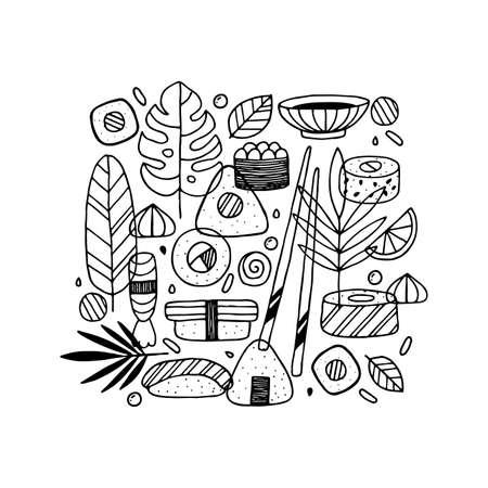 Conception de griffonnage de sushi. Graphique linéaire. Style scandinave. Illustration vectorielle