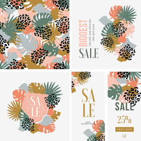Fashion print design texture. Seamless abstract leaf pattern. Tropical leaf design templates. Vector illustration