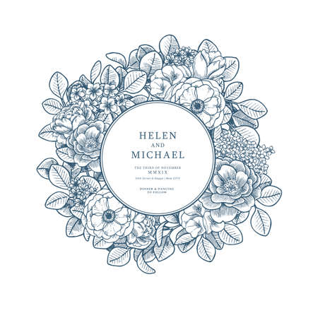 Elegant floral vintage wedding invitation. Various flowers card design. Vector illustration Ilustração