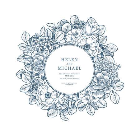 Elegant floral vintage wedding invitation. Various flowers card design. Vector illustration Illustration