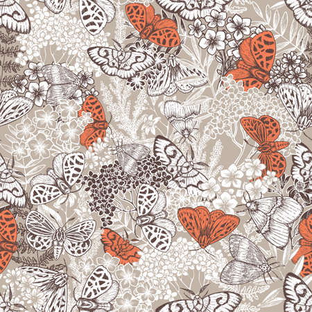 Butterflies and florals seamless pattern. Moth and flowers vintage background. Floral wallpaper. Vector illustration