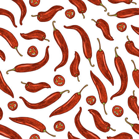 Chili pepper seamless pattern. Hot pepper background. Vector illustration Ilustração
