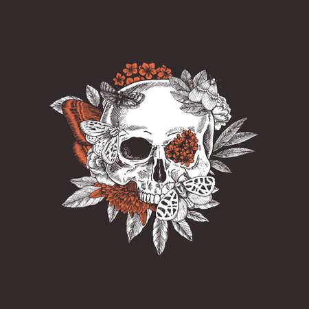 Halloween floral butterfly vintage skull illustration. Human skeleton. Vector illustration Çizim