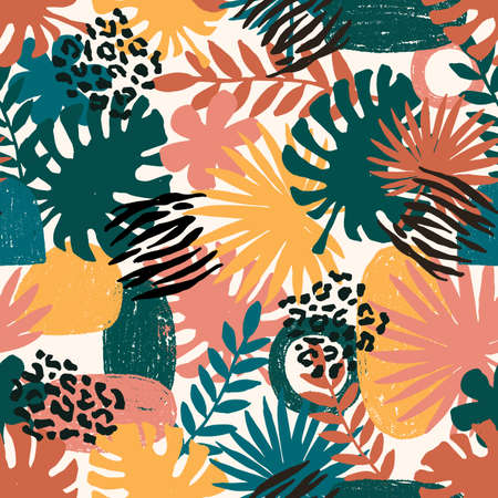 Seamless abstract exotic pattern. Jungle leaf. Wild nature. Vector illustration Иллюстрация