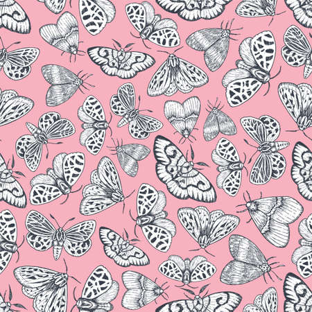 Butterflies seamless pattern. Various moth background. Pink wallpaper. Vector illustration