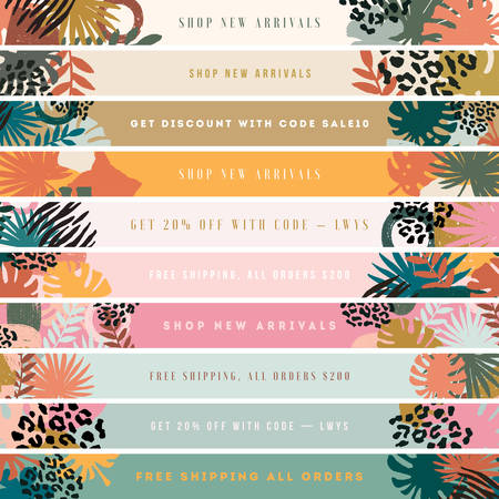 Website horizontal banner. Sale and news infoline. Exotic leaves and textures. Collage style. Vector illustration