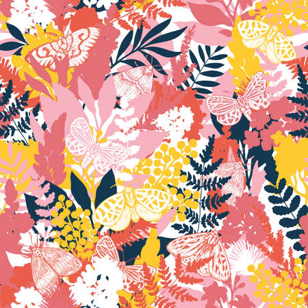 Butterflies and florals seamless pattern. Moth and flowers spring background. Floral wallpaper. Vector illustration