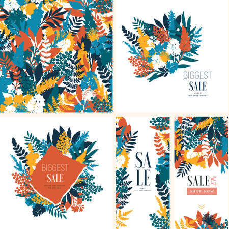 Various leaves and flowers bouquet design collection. Collage style. Seamless pattern, cards, vertical banners. Summer sale. Vector illustration Ilustração