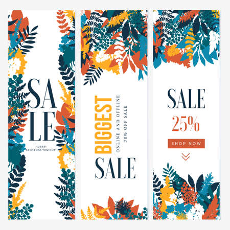 Wild flower vertical banner template. Florals background. Fashion style. Summer sale. Vector illustration Imagens - 129232775