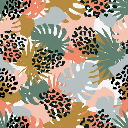Seamless abstract exotic pattern. Leopard texture. Vector illustration Иллюстрация